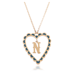 Calliope Alphabet Heart Necklace Letter N in Tosca
