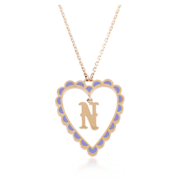 Calliope Alphabet Heart Necklace Letter N in Lilac