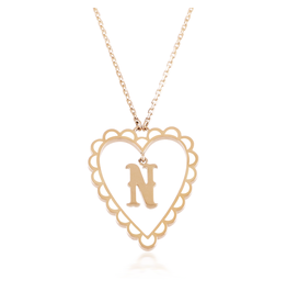 Calliope Alphabet Heart Necklace Letter N in Frost