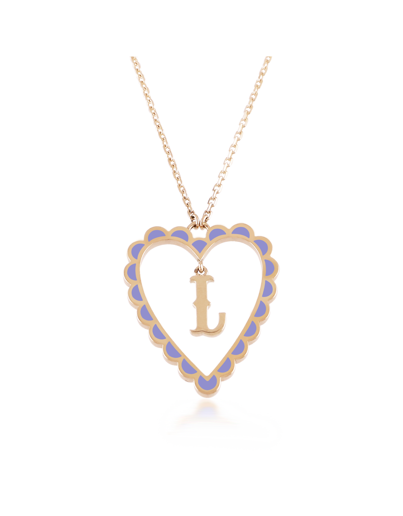 Calliope Alphabet Heart Necklace Letter L in Lilac