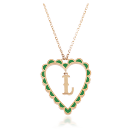 Calliope Alphabet Heart Necklace Letter L  in Evergreen