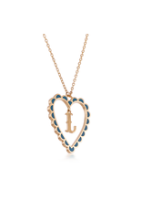 Calliope Alphabet Heart Necklace Letter L in Tosca