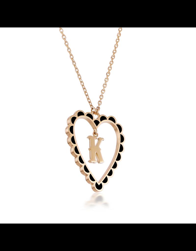 Calliope Alphabet Heart Necklace Letter K  in Ebony