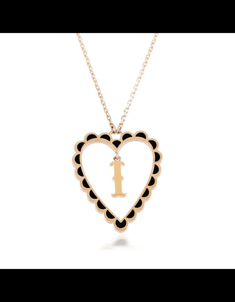 Calliope Alphabet Heart Necklace Letter I  in Ebony