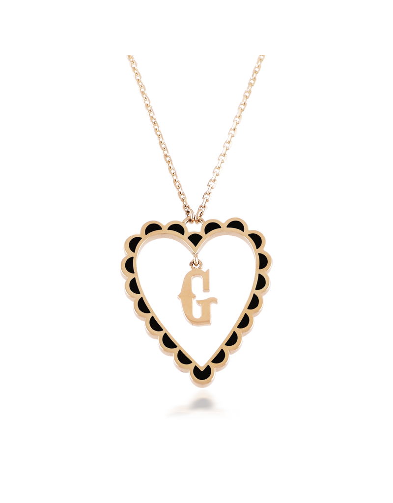 Calliope Alphabet Heart Necklace Letter G in Ebony