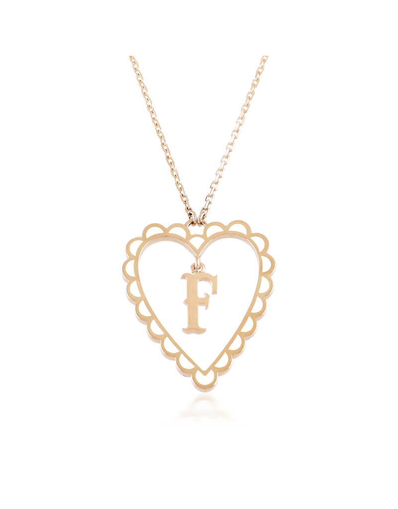 Calliope Alphabet Heart Necklace Letter F in Frost