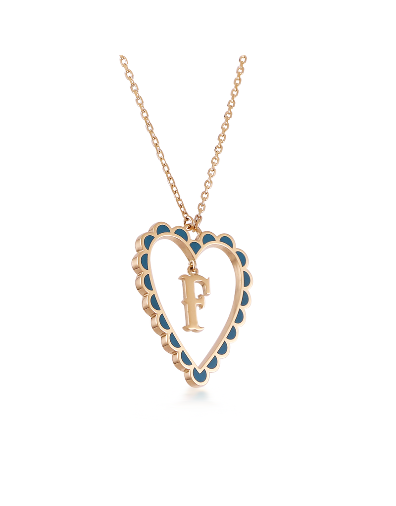 Calliope Alphabet Heart Necklace Letter F in Tosca