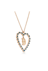 Calliope Alphabet Heart Necklace Letter D in Tosca