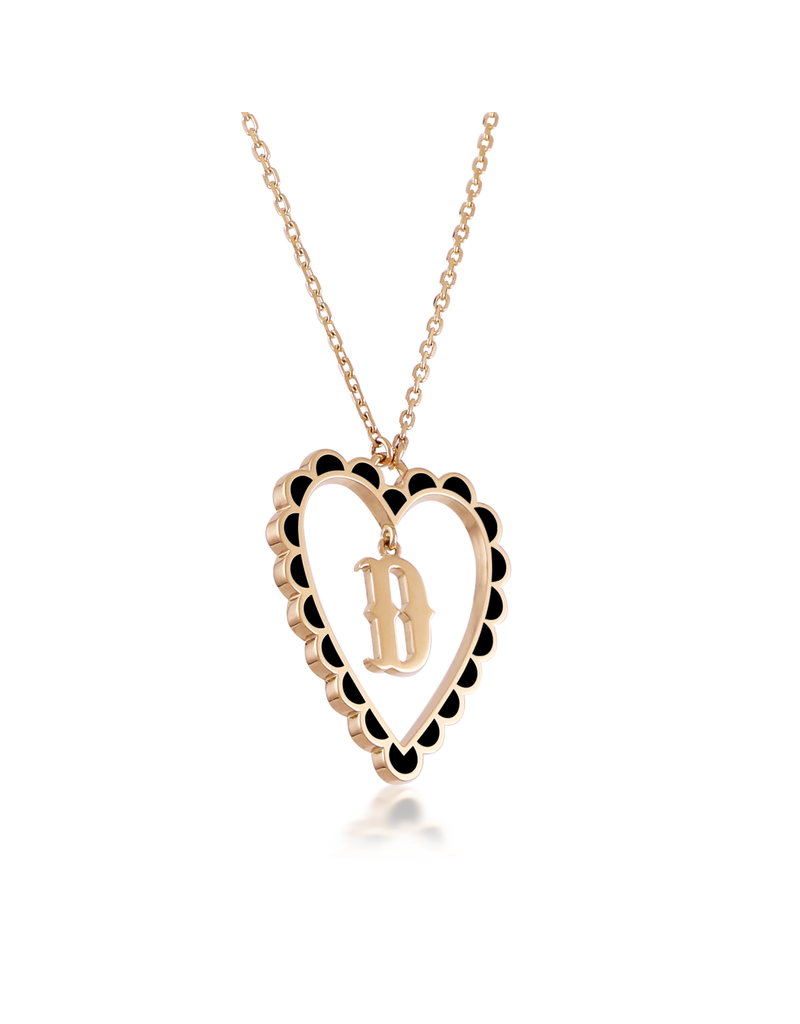Calliope Alphabet Heart Necklace Letter D in Ebony