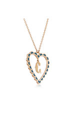 Calliope Alphabet Heart Necklace Letter C in Tosca