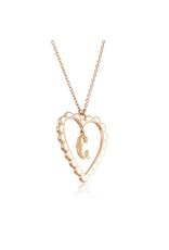 Calliope Alphabet Heart Necklace Letter C in Frost
