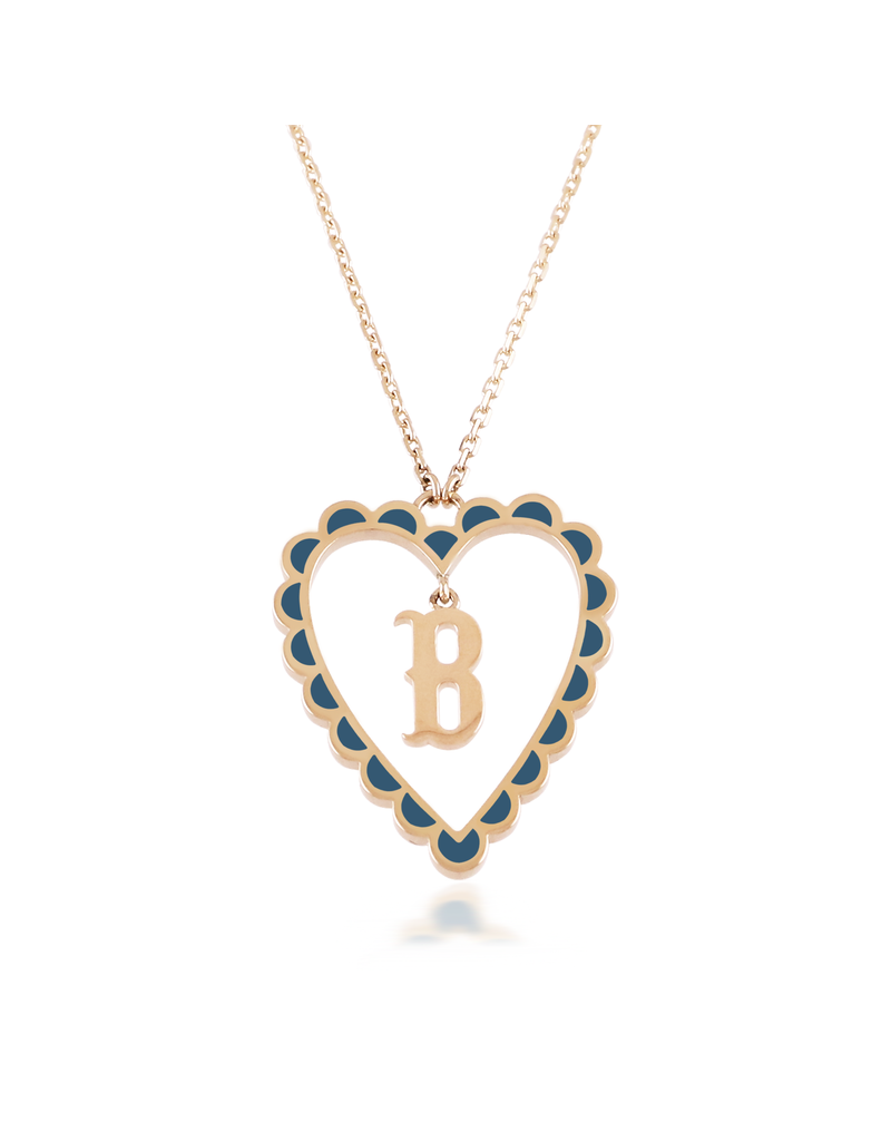 Calliope Alphabet Heart Necklace Letter B in Tosca