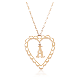 Calliope Alphabet Heart Necklace Letter A in Frost