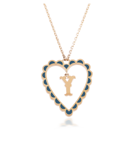 Calliope Alphabet  Heart Necklace Letter Y in Tosca