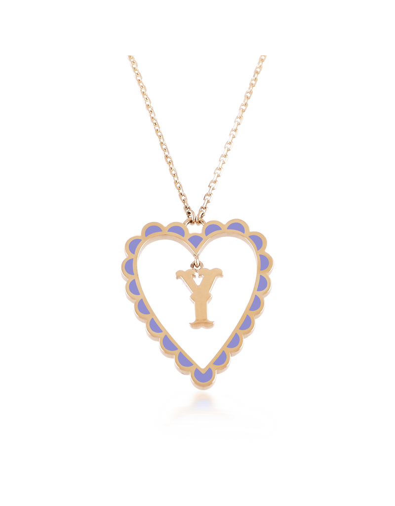 Calliope Alphabet  Heart Necklace Letter Y in LIlac
