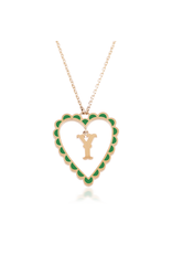 Calliope Alphabet  Heart Necklace Letter Y in Evergreen