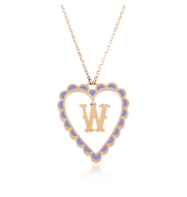Calliope Alphabet Heart Necklace Letter W in Lilac