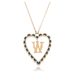 Calliope Alphabet  Heart Necklace Letter W  in Tosca