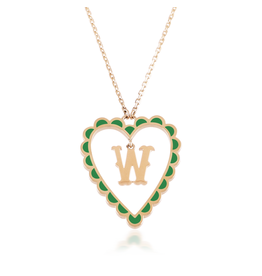 Calliope Alphabet  Heart Necklace Letter W  in Evergreen