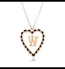 Calliope Alphabet  Heart Necklace Letter W  in Ebony
