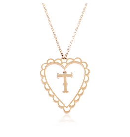 Calliope Alphabet  Heart Necklace Letter T  in Frost