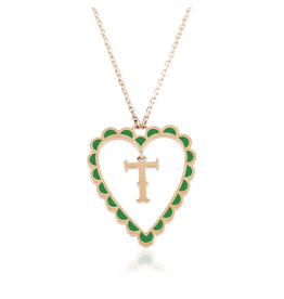 Calliope Alphabet  Heart Necklace Letter T  in Evergreen