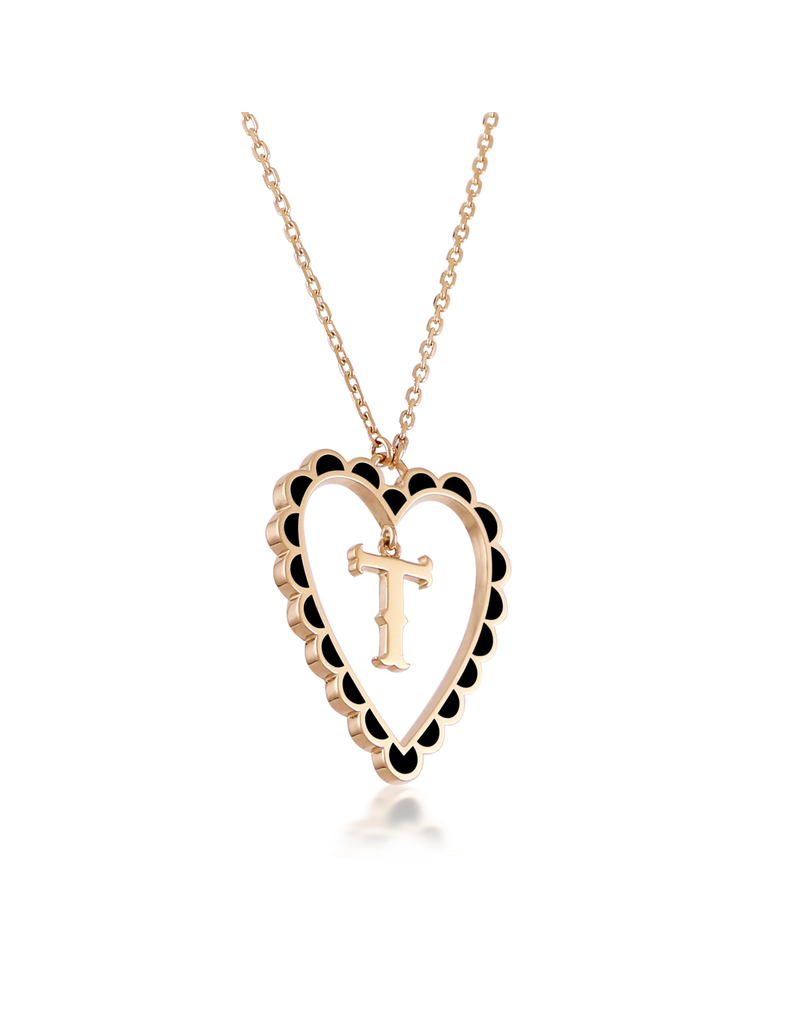 Calliope Alphabet  Heart Necklace Letter T  in Ebony