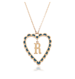 Calliope Alphabet  Heart Necklace Letter R  in Tosca