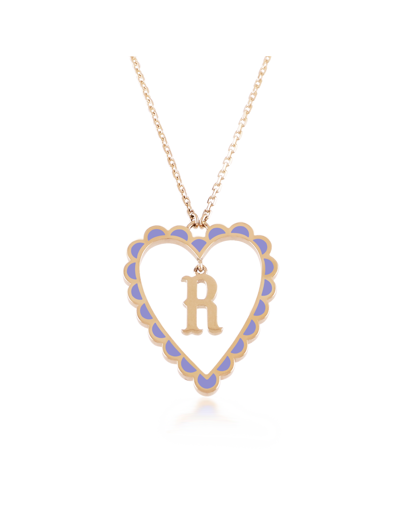 Calliope Alphabet  Heart Necklace Letter R  in Lilac