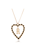 Calliope Alphabet  Heart Necklace Letter R  in Ebony