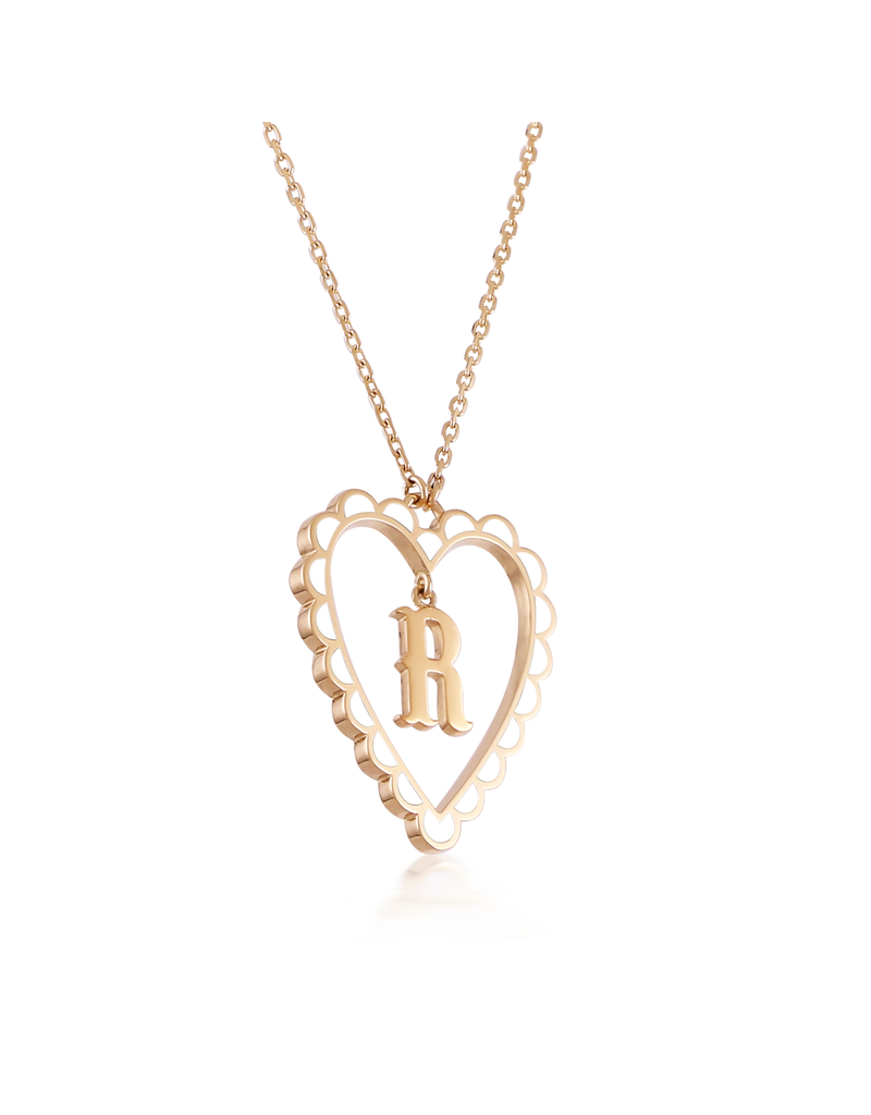 Calliope Alphabet  Heart Necklace Letter R  in Frost