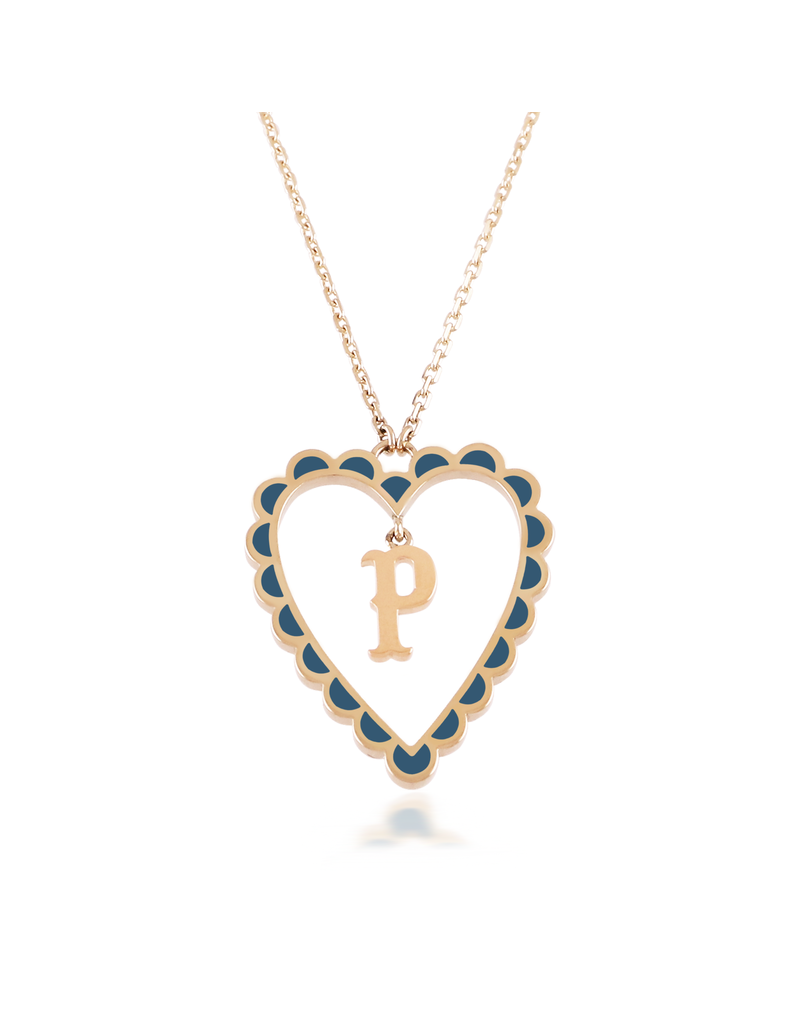 Calliope Alphabet  Heart Necklace Letter P in Tosca