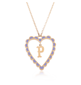 Calliope Alphabet  Heart Necklace Letter P in Lilac