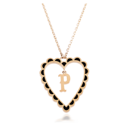 Calliope Alphabet  Heart Necklace Letter P in Ebony