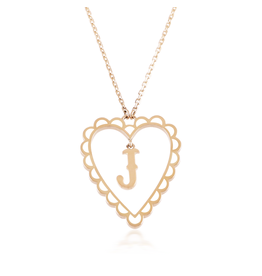 Calliope Alphabet  Heart Necklace Letter J  in Frost