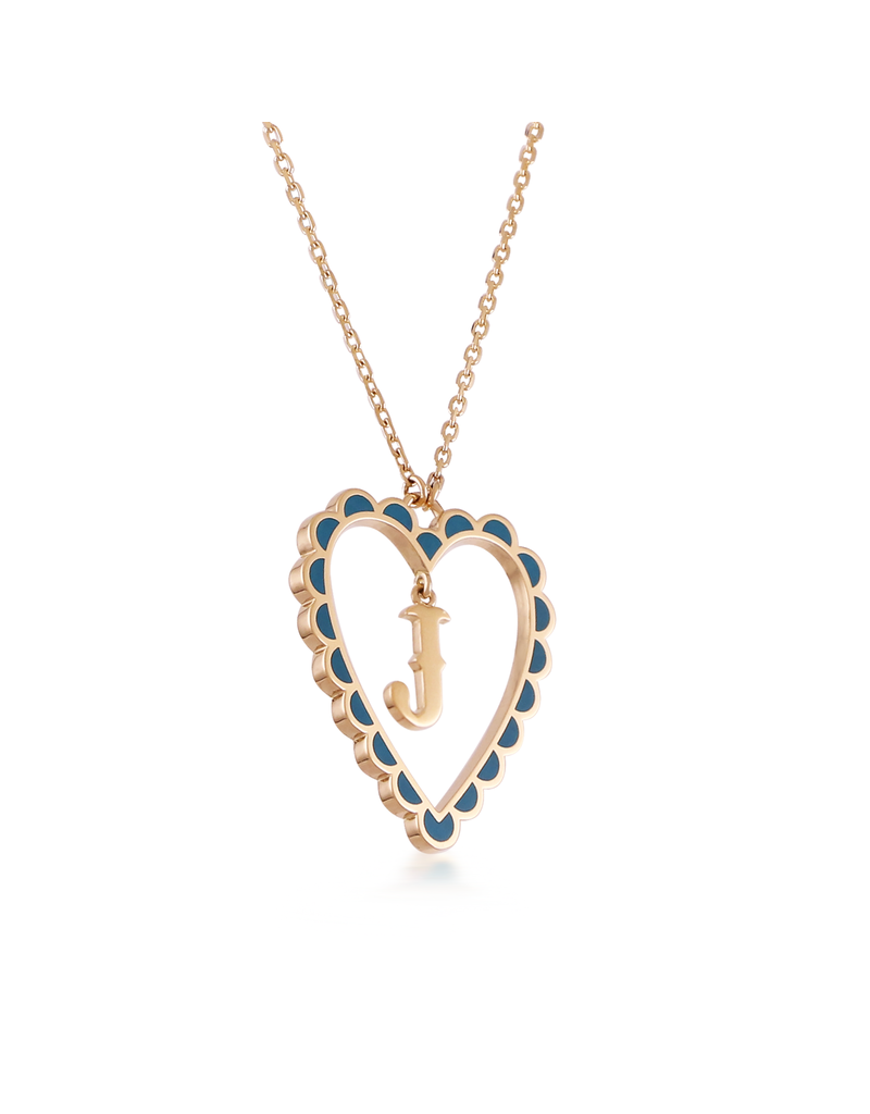 Calliope Alphabet  Heart Necklace Letter J  in Tosca