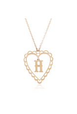 Calliope Alphabet  Heart Necklace Letter H in Frost