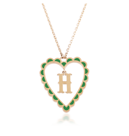 Calliope Alphabet  Heart Necklace Letter H in Evergreen