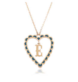 Calliope Alphabet  Heart Necklace Letter E in Tosca