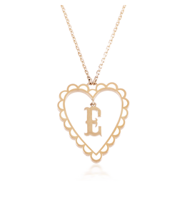 Calliope Alphabet  Heart Necklace Letter E in Frost