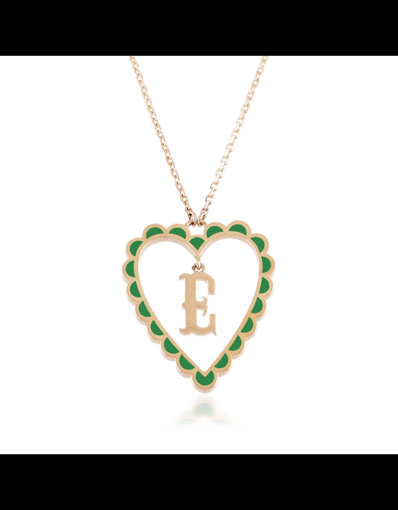 Calliope Alphabet  Heart Necklace Letter E in Evergreen
