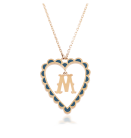 Calliope  Alphabet Heart Necklace Letter M in Tosca