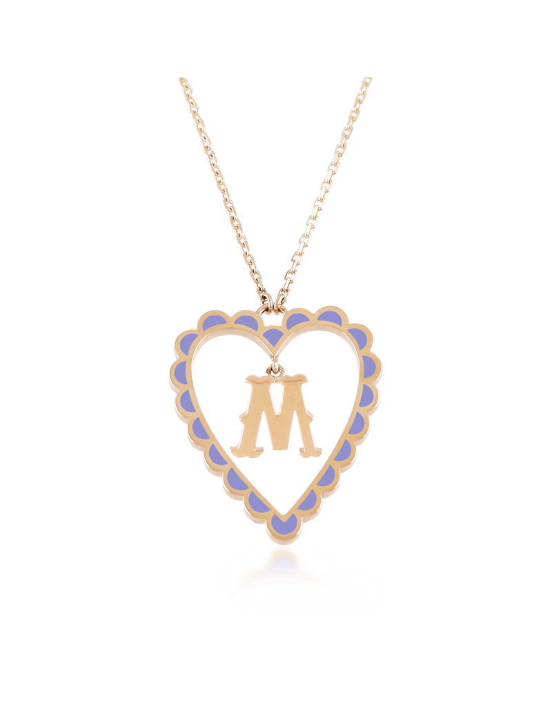 Calliope  Alphabet Heart Necklace Letter M in Lilac