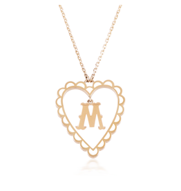 Calliope  Alphabet Heart Necklace Letter M in Frost
