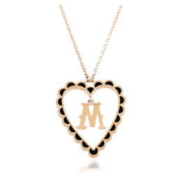 Calliope  Alphabet Heart Necklace Letter M in Ebony