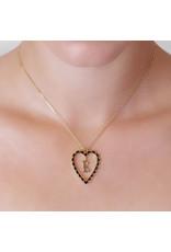 Calliope Alphabet  Heart Necklace Letter E in Ebony