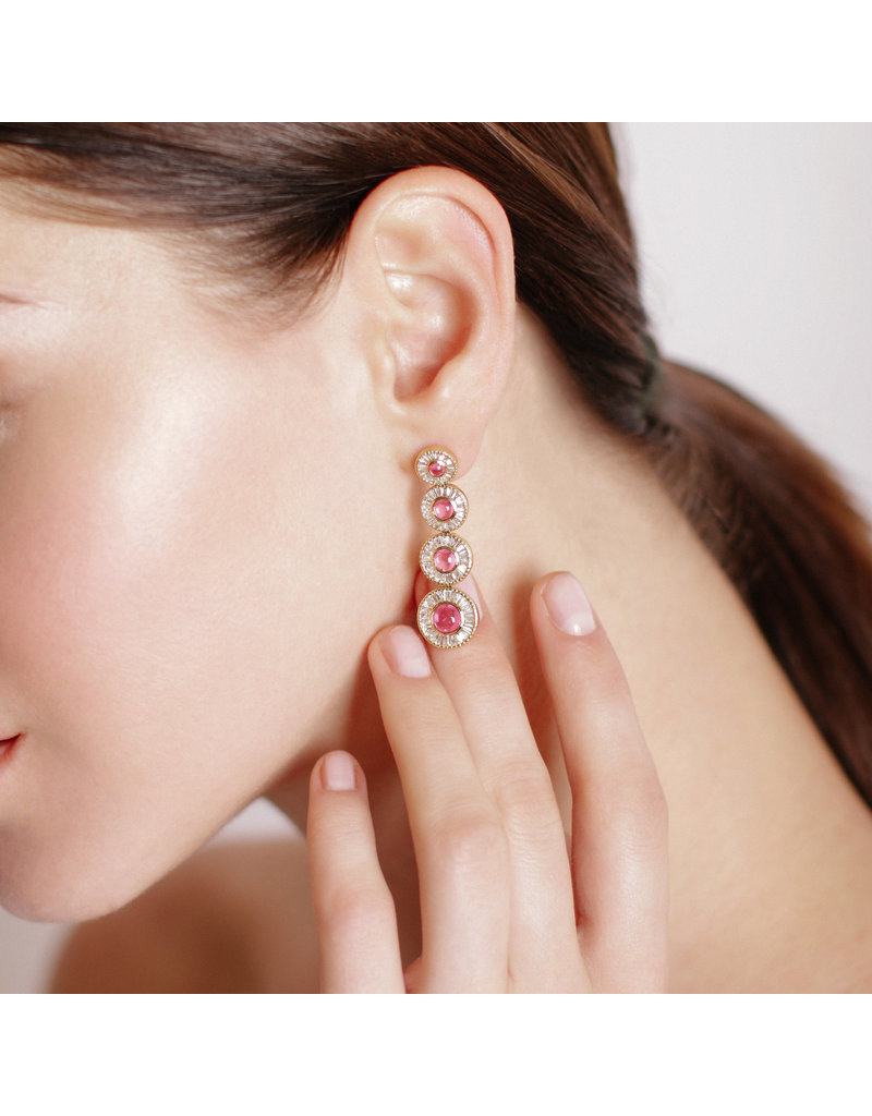 Shanhan Moon Earrings in Red Lantern