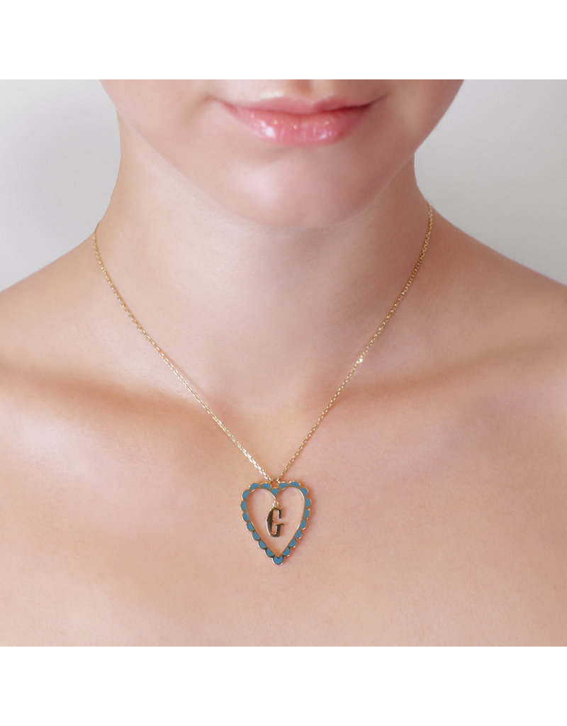 Calliope Alphabet Heart Necklace Letter Z in Tosca
