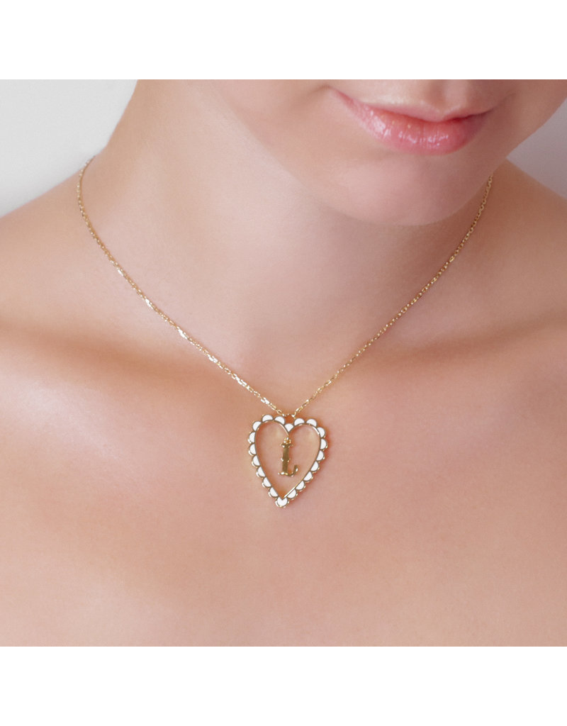 Calliope Alphabet  Heart Necklace Letter Y in Frost