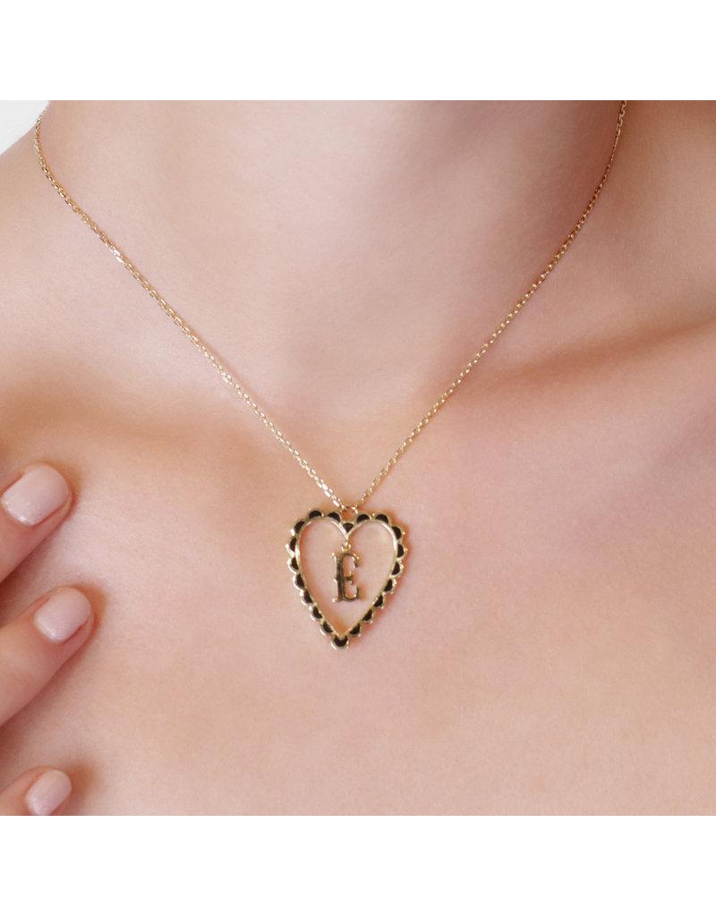 Calliope  Alphabet Heart Necklace Letter M in Ebony